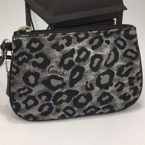 Silver Leopard / Animal Print Coach Wristlet